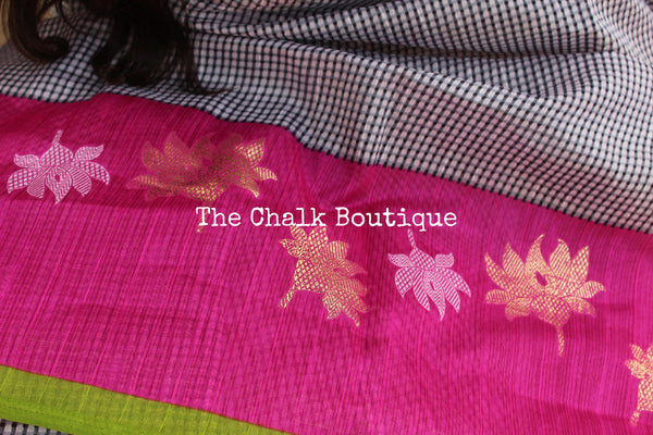 Checked handwoven cotton silk saree. TCB-COTSK-C2