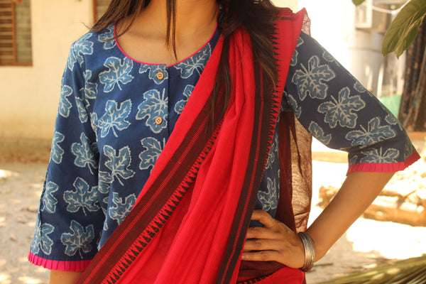 Indigo Leaf Hand block printed ready to wear cotton Blouse  CC-CT5-C3