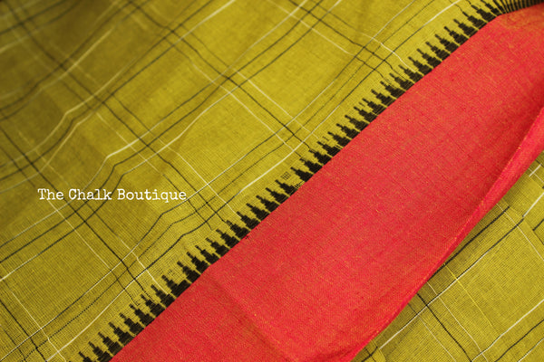 Light Green Cotton Saree with contrast Border. TCB-HND1-P22-The Chalk Boutique