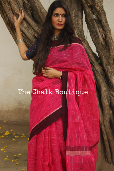 Fuchsia Pink Handloom Cotton Saree with contrast Border. TCB-HND2-P22-The Chalk Boutique
