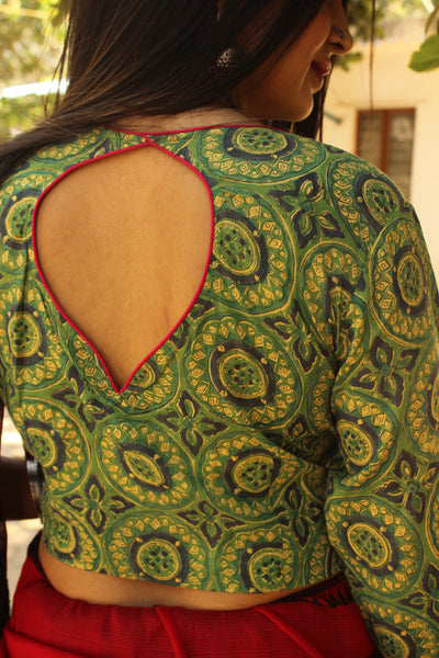 Green ruffle sleeved Hand block printed ready to wear cotton Blouse  CC-CT8-C3