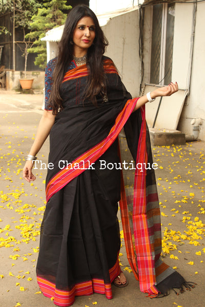 Black Handloom Cotton Saree with contrast Border. TCB-HND4-P22-The Chalk Boutique