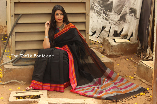 Black Handloom Cotton Saree with contrast Border. TCB-HND4-P22