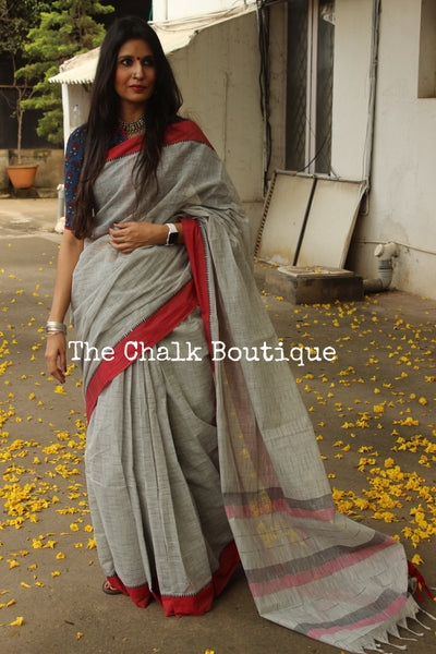 Grey Handloom Cotton Saree with contrast Border. TCB-HND5-P22-The Chalk Boutique