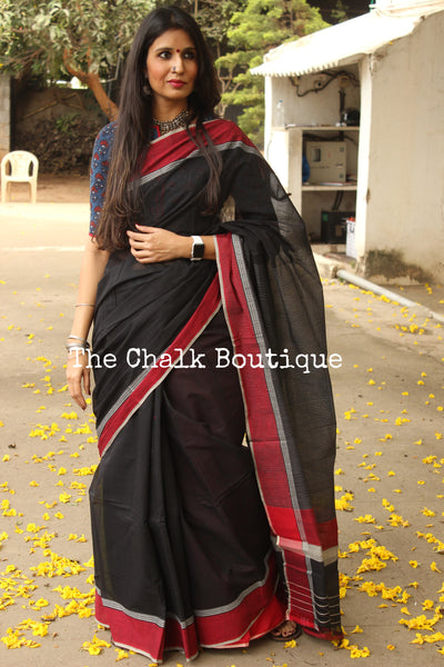 Black Handloom Cotton Saree with contrast Border. TCB-HND6-P22-The Chalk Boutique