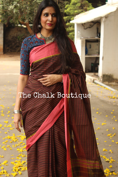 Deep Brown Handloom Cotton Saree with contrast Border. TCB-HND7-P22-The Chalk Boutique