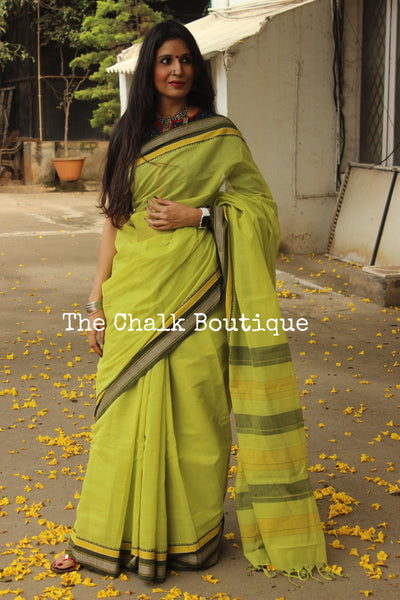Parrot Green Handloom Cotton Saree with contrast Border. TCB-HND8-P22-The Chalk Boutique