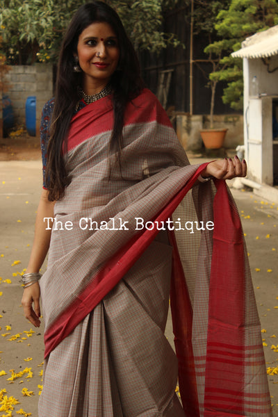 Grey Handloom Cotton Saree with contrast Border. TCB-HND9-P22-The Chalk Boutique