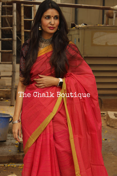 Pink Handloom Cotton Saree with contrast Border. TCB-HND10-P22-The Chalk Boutique