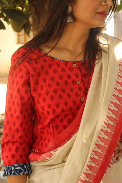 Red hand block printed ready to wear cotton Blouse  CC-CT14-C3