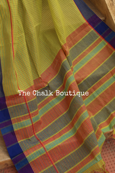 Green Handloom Cotton Saree with contrast Border. TCB-HND11-P22-The Chalk Boutique