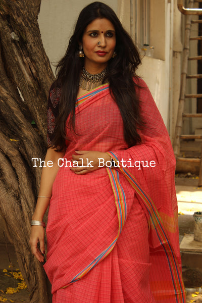 Pink Handloom Cotton Saree with contrast Border. TCB-HND12-P22-The Chalk Boutique