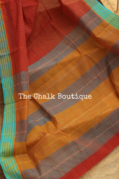 Brick Red Handloom Cotton Saree with contrast Border. TCB-HND13-P22-The Chalk Boutique