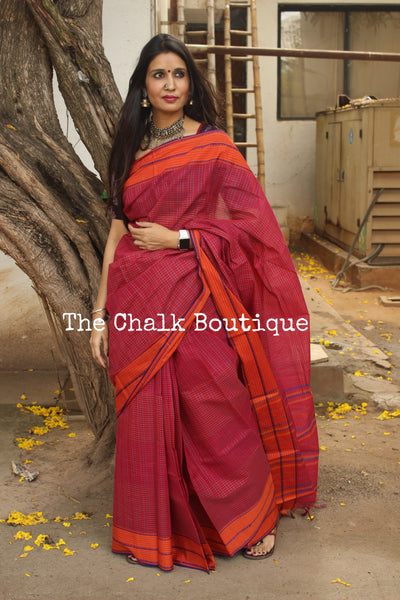 Deep Red Handloom Cotton Saree with contrast Border. TCB-HND14-P22-The Chalk Boutique