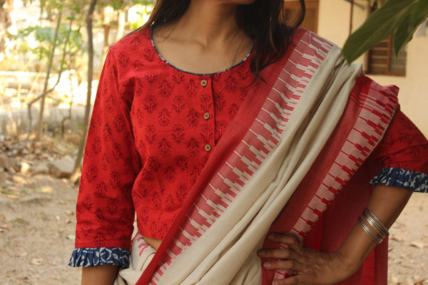Red hand block printed ready to wear cotton Blouse  CC-CT18-C3