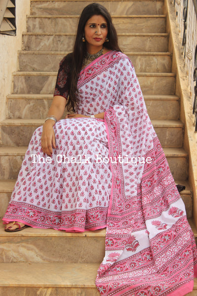 White and pink Bagru Hand Block Print Mul Cotton saree. TCB-COT24-KT2-The Chalk Boutique