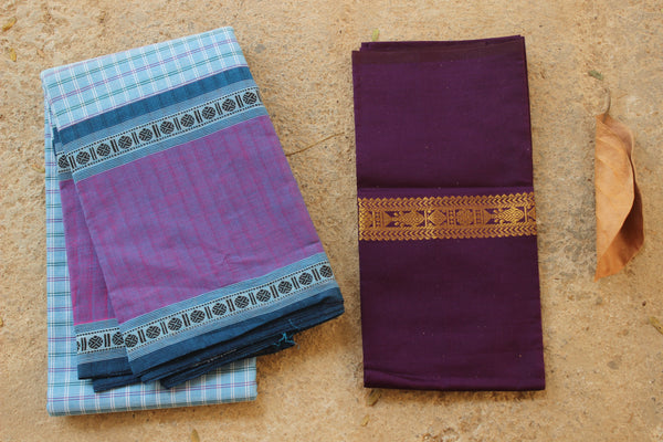 Blue Checked Kanchi Cotton Saree With Contrast Purple Border. RK-KC1-C33