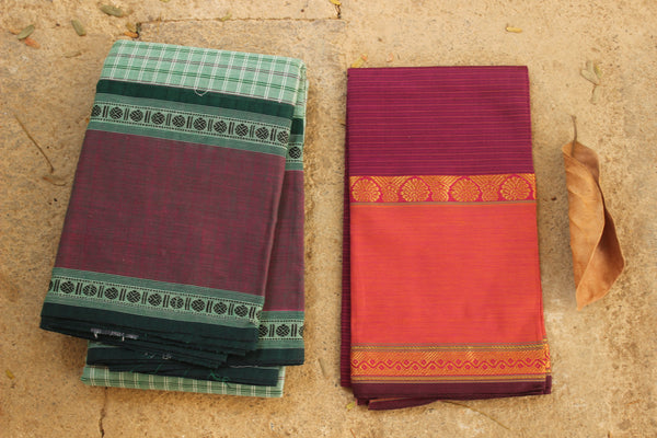 Light Green Checked Kanchi Cotton Saree With Contrast  Border. RK-KC2-C33