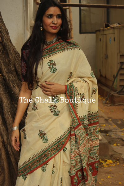 Beige and green Bagru Hand Block Print Mul Cotton saree. TCB-COT27-KT2-The Chalk Boutique