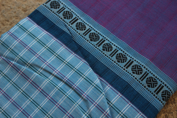 Blue Checked Kanchi Cotton Saree With Contrast Purple Border. RK-KC1-C33-The Chalk Boutique