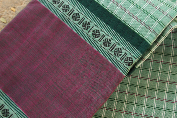 Light Green Checked Kanchi Cotton Saree With Contrast Border. RK-KC2-C33-The Chalk Boutique