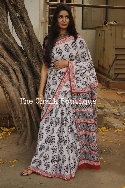 Off White and Black Bagru Hand Block Print Mul Cotton saree. TCB-COT28-KT2-The Chalk Boutique