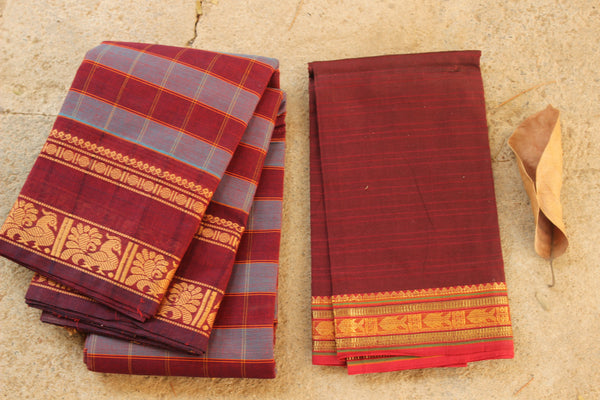 Checked Kanchi Cotton Saree With Broad Border. RK-KC5-C33