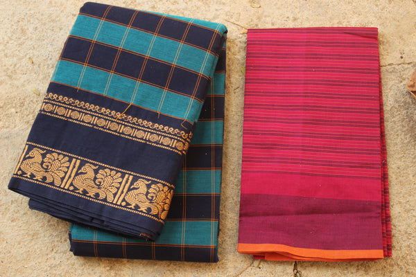 Checked Kanchi Cotton Saree With Broad Border. RK-KC6-C33-The Chalk Boutique