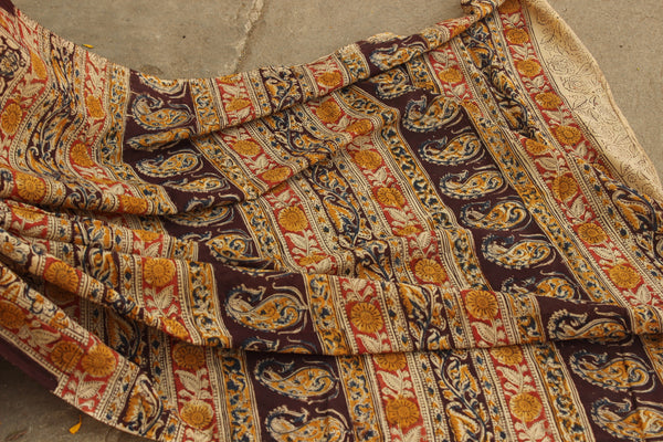 Overall soft cotton kalamkari saree with thin border.TCB-KAL27-P9