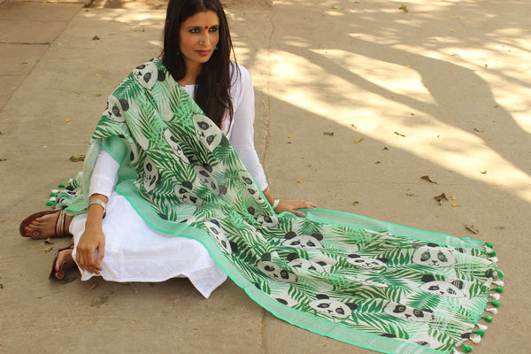 "| Panda Love | Green ""Panda"" linen digital print dupatta with tassels. TCB-LDUP2-C4"