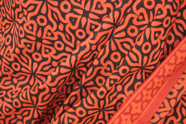 Black with rust hand block print all over cotton saree  TCB-DP-10