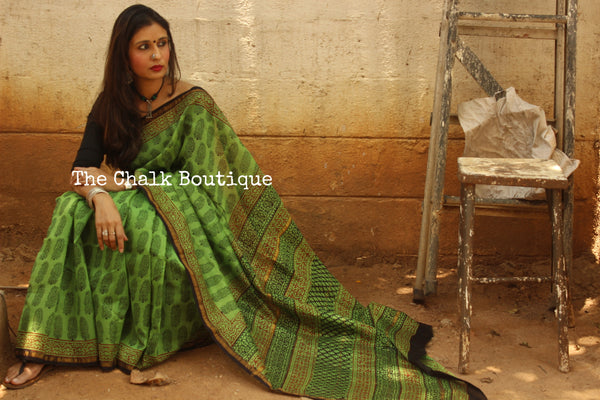 Green Bagh Handblock Printed Chanderi  Saree With Zari SHB-CHN-4-C1