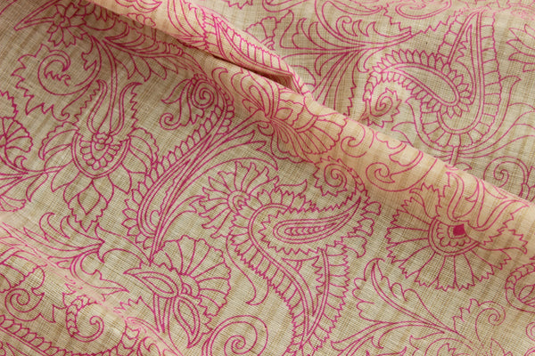 Beige and pink Khadi Cotton Madhubani Dupatta.MB-DUP1005