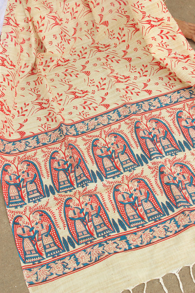 Beige, Red and Blue Cotton Madhubani Dupatta.MB-DUP1004
