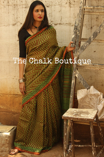 Green and Rust Bagh Handblock Printed Chanderi  Saree With Zari SHB-CHN-3-C1