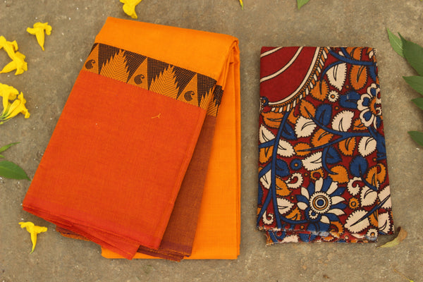 Sunset yellow Chettinad cotton saree with ganga jamuna woven border. RK-CH4-C37-The Chalk Boutique