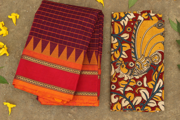 Checked Kanchi Cotton Saree With Contrast  Border. RK-KC1-C37