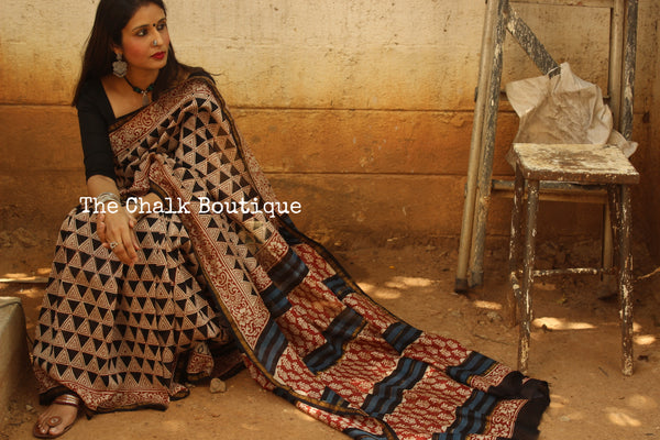 Triangle Handblock Printed Chanderi  Saree With Zari SHB-CHN-2-C1