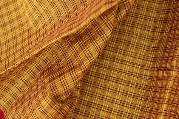Checked Kanchi Cotton Saree With Contrast  Border. RK-KC3-C37