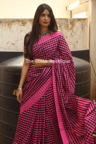 Fun classic Pink and black Checked Handwoven 'gamcha' cotton Saree. TCB-CHK4-CY5-The Chalk Boutique