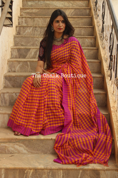Fun Pink and Orange Checked Handwoven 'gamcha' cotton Saree. TCB-CHK3-CY5-The Chalk Boutique