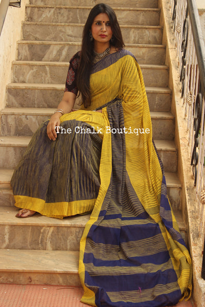 Mustard Pure Cotton Tie & Dye Half & Half Saree TCB-TD4-CY5-The Chalk Boutique