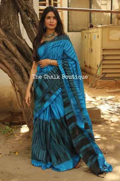 Blue Pure Cotton Tie & Dye Half & Half Saree TCB-TD7-CY5-The Chalk Boutique
