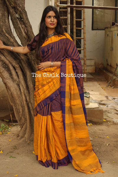 Mustard Pure Cotton Tie & Dye Half & Half Saree TCB-TD6-CY5-The Chalk Boutique