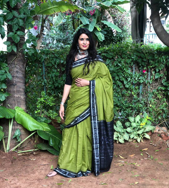 | Green Day | Green Handwoven sambalpuri ikat saree in cotton.