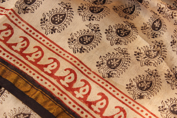 Classic white with black butas Bagh Handblock Printed Chanderi  Saree With Zari SHB-CHN-15-C1