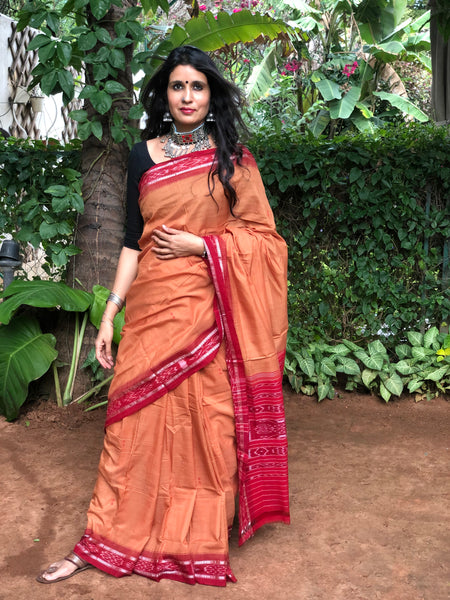 | Rusk | Rust Handwoven sambalpuri ikat saree in cotton.