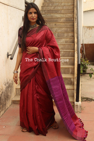 Red Staple Viscose saree with pure tussar palla. TCB-VIS8-MS1