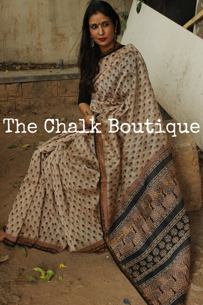 Cream with flower butas Bagh Handblock Printed Chanderi  Saree With Zari SHB-CHN-12-C1