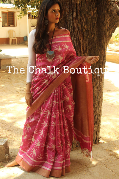 Pink Handwoven silk saree with gicha border and gicha palla. SHB-GICHA-8